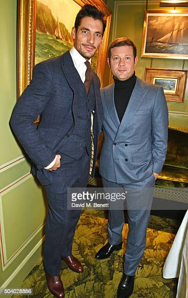David Gandy and Dermot O'Leary attend a cocktail reception hosted by the Woolmark Company Pierre Lagrange and the Savile Row Bespoke Association to...