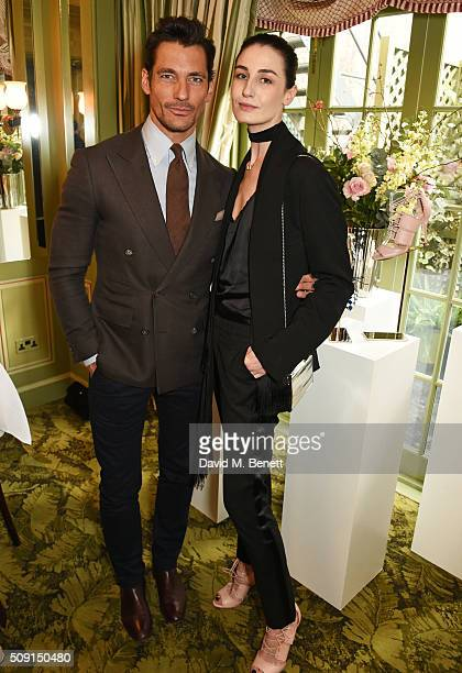 David Gandy and Erin O'Connor attend the LKBennett x Bionda Castana lunch at Mark's Club on February 9 2016 in London England