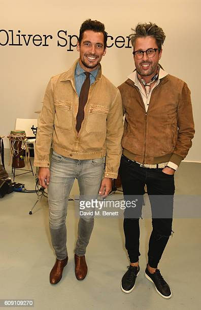 David Gandy and Larry King attend Oliver Spencer Vero British GQ 'Buy Now' Catwalk Show during London Fashion Week Spring/Summer collections 2017 on...
