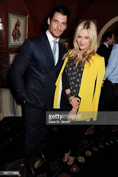 David Gandy and Laura Whitmore attend a party celebrating the new partnership between Johnnie Walker Blue Label and model David Gandy at Annabels on...