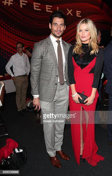 David Gandy and Laura Whitmore attend the new Jaguar XE World Premiere at Earls Court on September 8, 2014 in London, England.