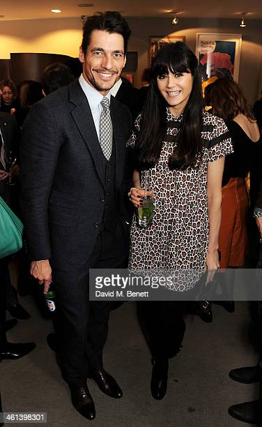 David Gandy and Lilah Parsons attend the GQ Style x James Long party at Browns during London Collections Men on January 8 2014 in London England