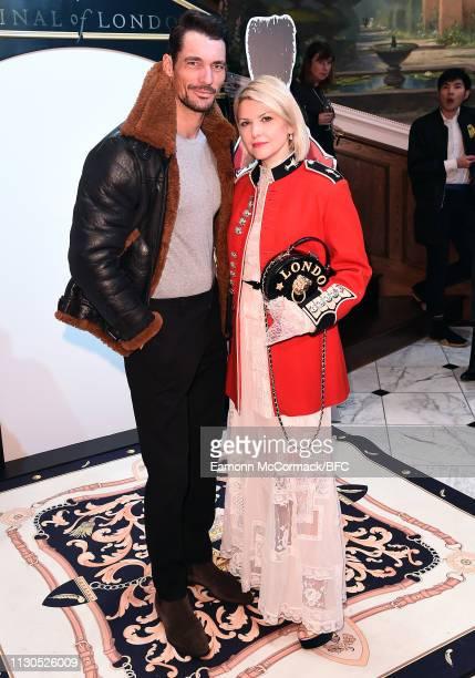 David Gandy and Mariya Dykalo attend the Aspinal of London AW19 presentation during London Fashion Week February 2019 at the Aspinal Of London on...