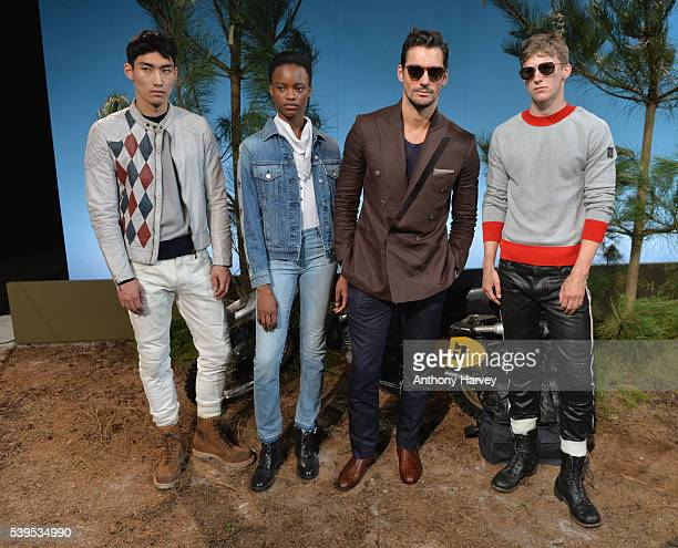David Gandy and models attend the Belstaff presentation during The London Collections Men SS17 on June 12 2016 in London England