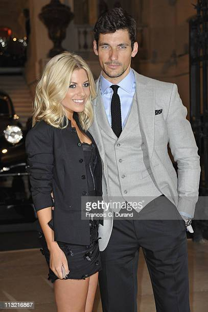 David Gandy and Mollie King arrive at the Vintage Cars Exhibition Launch Gala Dinner at Musee Des Arts Decoratifs on April 27 2011 in Paris France