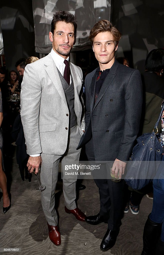 David Gandy and Oliver Cheshire attend a reception hosted by Marks & Spencer and ShortList Magazine to celebrate London Collections Men AW16 at Rosewood London on January 11, 2016 in London, England.