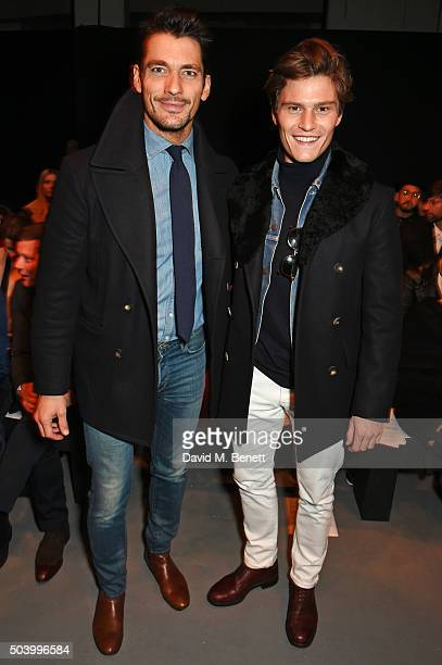 David Gandy and Oliver Cheshire attend the MAN front row during London Collections Men AW16 at the Topman Show Space on January 8 2016 in London...