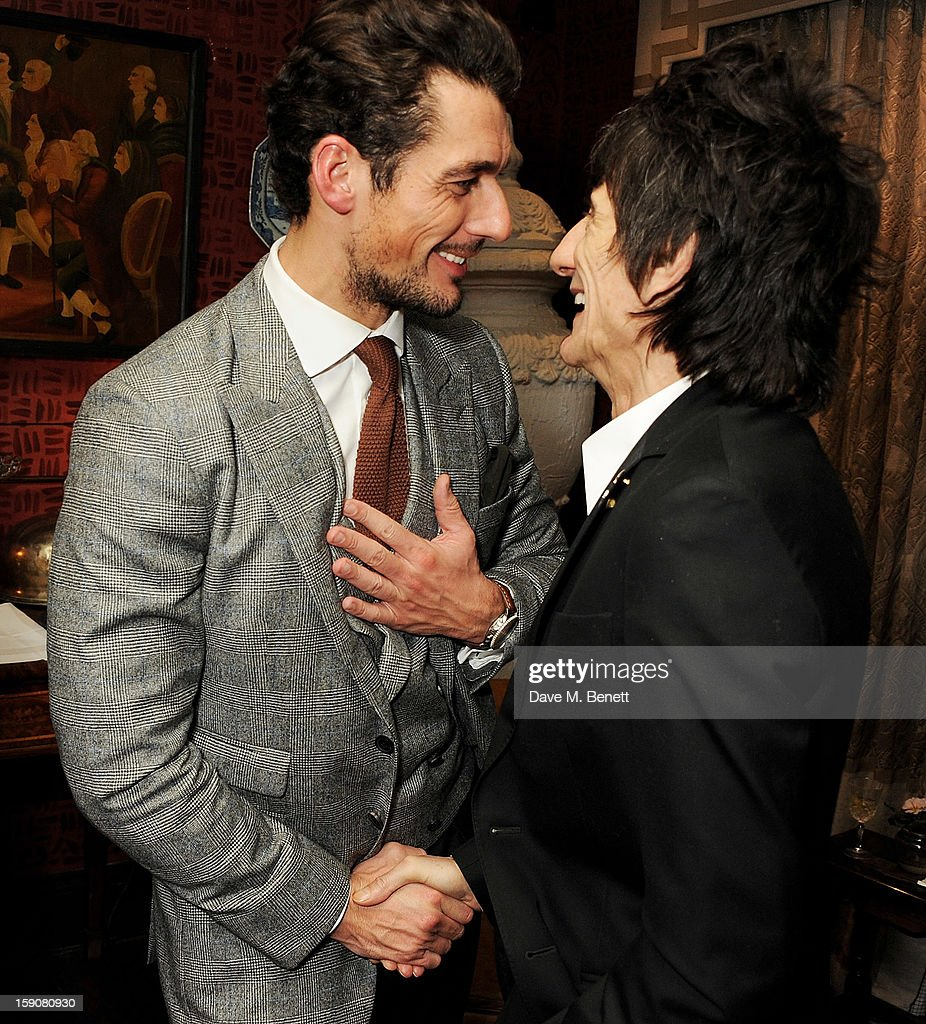 David Gandy (L) and Ronnie Wood attend the Esquire and Tommy Hilfiger party celebrating London Collections: MEN AW13, hosted by Esquire editor Alex Bilmes and Tommy Hilfiger, at the Zetter Townhouse on January 7, 2013 in London, England.