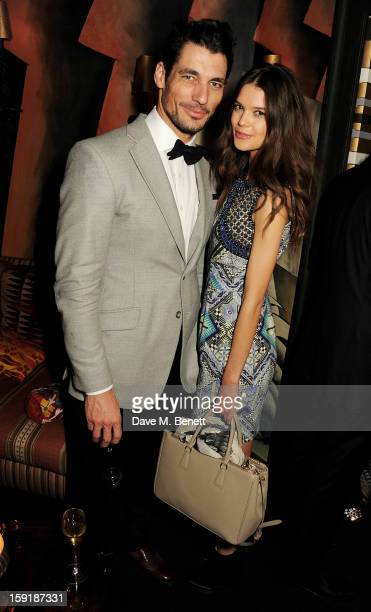 David Gandy and Sarah Ann Macklin attend a private dinner hosted by Tom Ford to celebrate his runway show during London Collections MEN AW13 at...