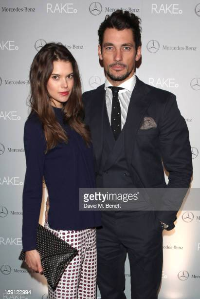 David Gandy and Sarah Anne Macklin attend the RAKE AW13 Salon show during the London Collections: MEN AW13 at Tramp, 40 Jermyn St, on January 8, 2012...
