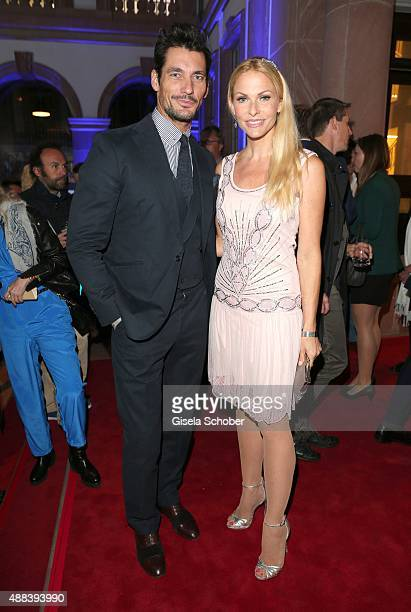 David Gandy and Sonya Kraus during the presentation of the Jaguar Land Rover vehicles starring in the new Bond film 'Spectre' on September 15 2015 in...