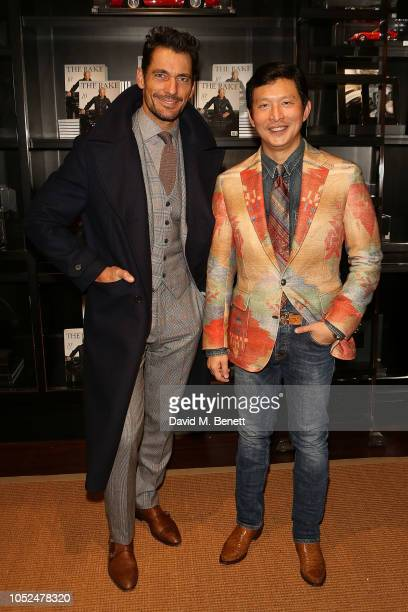 David Gandy and Wei Koh attend an anniversary party celebrating 50 years of Ralph Lauren and 10 years of The Rake on October 18 2018 in London England