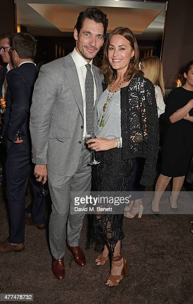 David Gandy and Yasmin Le Bon attend the Red Magazine dinner in honour of Yasmin Le Bon at Bulgari Hotel on June 17 2015 in London England