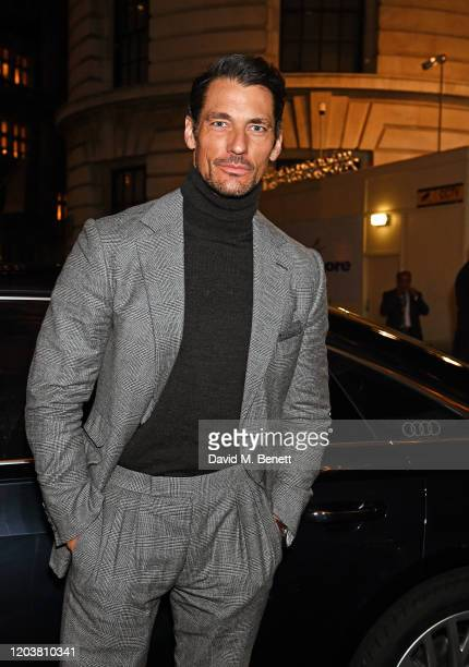 David Gandy arrives in an Audi at the GQ Car Awards at Corinthia London on February 03 2020 in London England