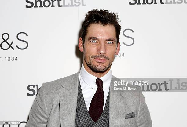 David Gandy attends a reception hosted by Marks & Spencer and ShortList Magazine to celebrate London Collections Men AW16 at Rosewood London on...