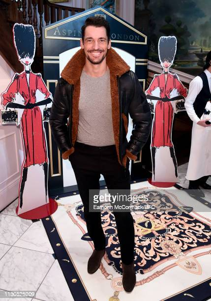 David Gandy attends the Aspinal of London AW19 presentation during London Fashion Week February 2019 at the Aspinal Of London on February 18, 2019 in...