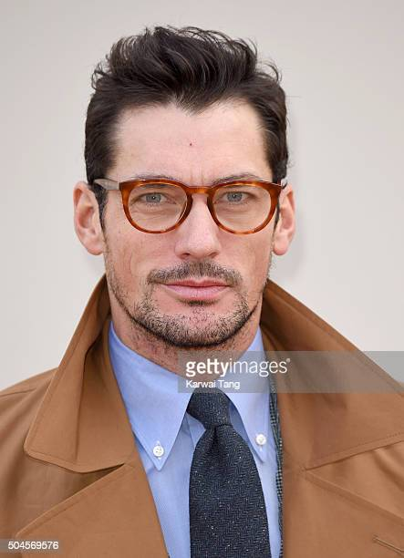 David Gandy attends the Burberry show during The London Collections Men AW16 at Kensington Gardens on January 11 2016 in London England