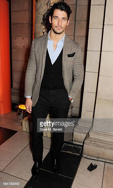 David Gandy attends the private view for the 'David Bowie Is' exhibition in partnership with Gucci and Sennheiser at the Victoria and Albert Museum...