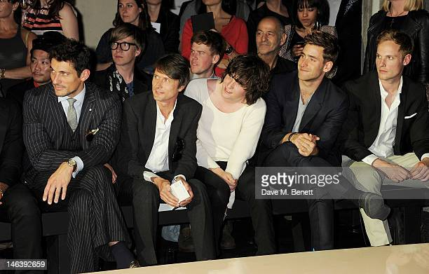 David Gandy Brett Anderson George Craig Oliver JacksonCohen and Jack Fox attend the Spencer Hart Spring/Summer 2013 catwalk show during London...