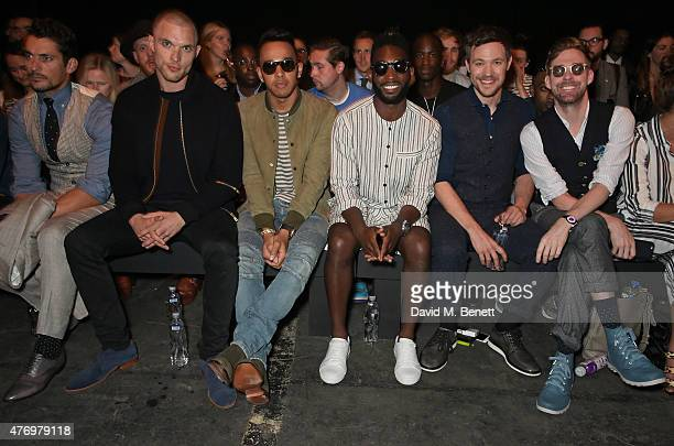 David Gandy Ed Skrein Lewis Hamilton Tinie Tempah Will Young and Ricky Wilson attend the front row at the Oliver Spencer show during London...