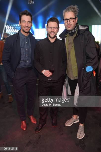 David Gandy Gordon Smart and Larry King attend the World Premiere of the new Range Rover Evoque at The Old Truman Brewery on November 22 2018 in...