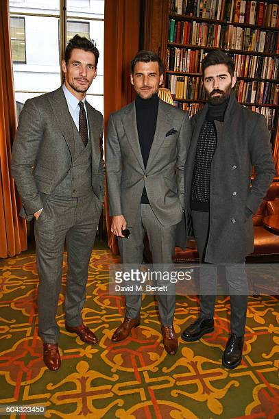 David Gandy Johannes Huebl and Chris John Millington attend the Pringle Of Scotland Menswear Autumn/Winter 2016 show during London Collections Men on...