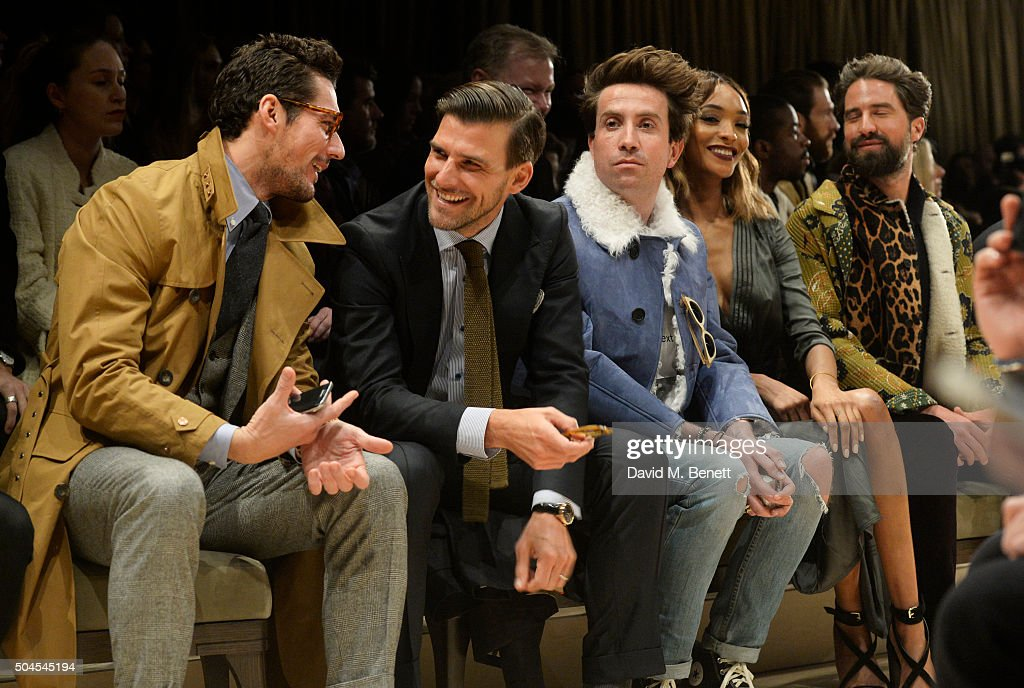 David Gandy, Johannes Huebl, Nick Grimshaw, Jourdan Dunn and Jack Guinness attend the Burberry Menswear January 2016 Show on January 11, 2016 in London, United Kingdom.