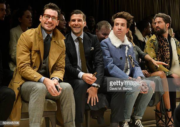 David Gandy Johannes Huebl Nick Grimshaw Jourdan Dunn and Jack Guinness attend the Burberry Menswear January 2016 Show on January 11 2016 in London...