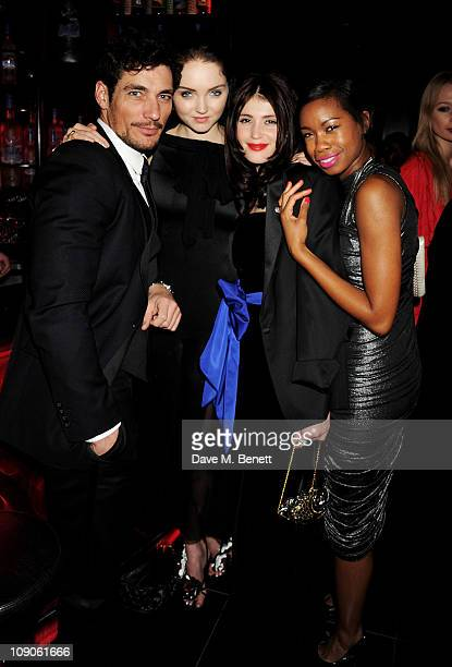 David Gandy, Lily Cole, Gemma Arterton and Tallulah Adeyemi celebrate at The Weinstein Company and Momentum Pictures' post-BAFTA party held at W...
