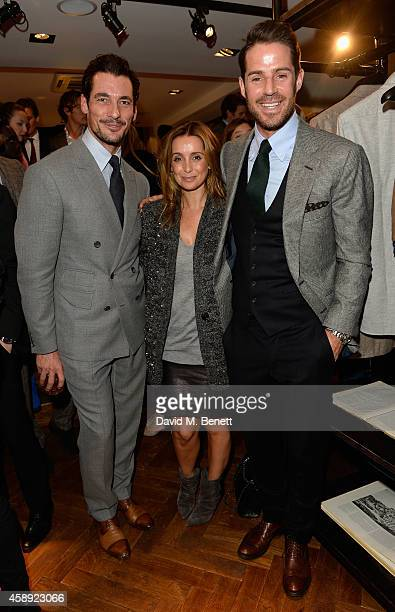 David Gandy, Louise Redknapp and Jamie Rednapp attend the opening of the new Thom Sweeney RTW & MTM Store on November 13, 2014 in London, England.