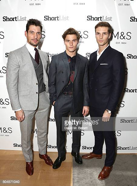 David Gandy Oliver Cheshire and Edward Wilding attend a reception hosted by Marks Spencer and ShortList Magazine to celebrate London Collections Men...