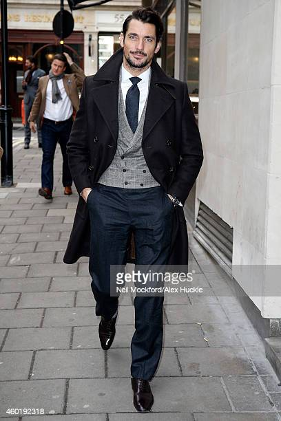 David Gandy pictured arriving at Quaglino's restaurant in Mayfair for the GQ Magazine Christmas lunch on December 9, 2014 in London, England. Photo...