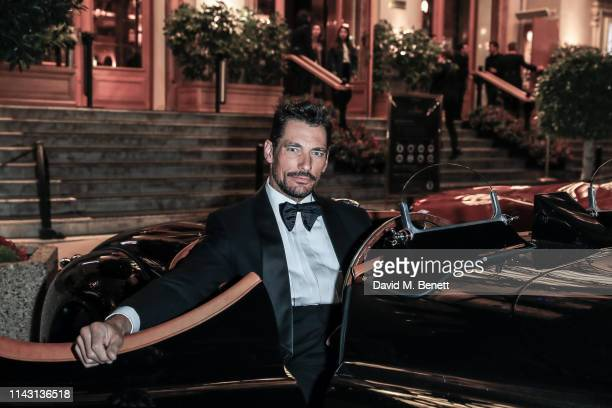 David Gandy poses in the Jaguar XK 120 at the ABB FIA Formula E 2019 Monaco E-Prix 'Casino Royale' Black Tie Event at Casino de Monte-Carlo on May...