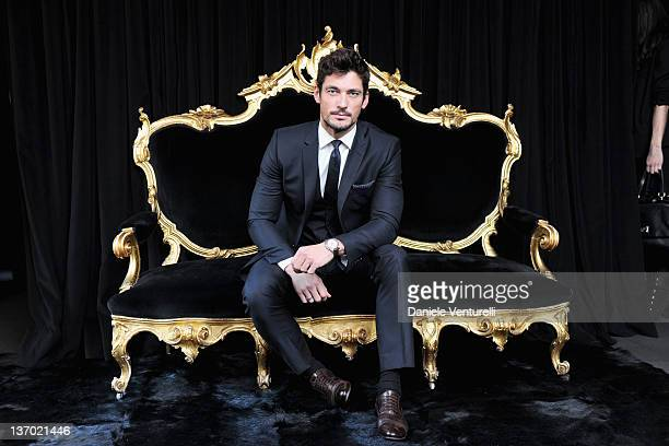 David Gandy poses in the VIP room at the Dolce Gabbana show as part of the Milan Fashion Week Menswear Autumn/Winter 2012 at Metropol on January 14...