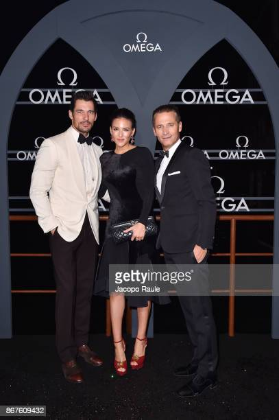 David Gandy Raynald Aeschlimann and guest attend the OMEGA Aqua Terra at Palazzo Pisani Moretta on October 28 2017 in Venice Italy