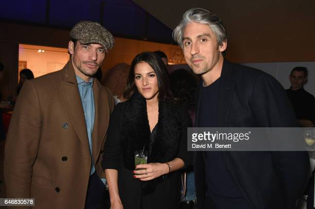 David Gandy Stephanie Mendoros and George Lamb attend the world premiere launch of the new Range Rover Velar at Design Museum on March 1 2017 in...