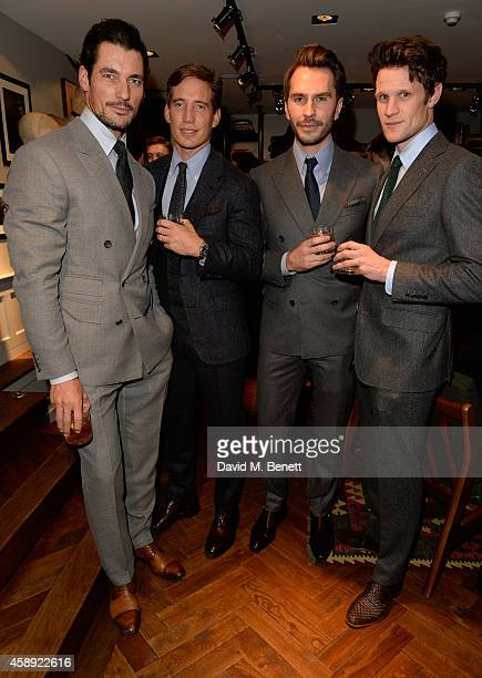 David Gandy, Thom Whiddett, Luke Sweeney and Matt Smith attend the opening of the new Thom Sweeney RTW & MTM Store on November 13, 2014 in London,...
