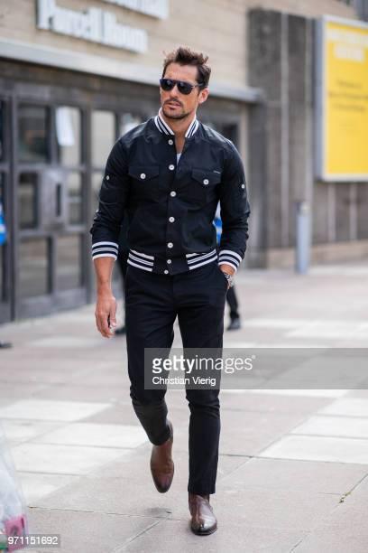 David Gandy wearing college jacket seen during London Fashion Week Men's June 2018 on June 10 2018 in London England