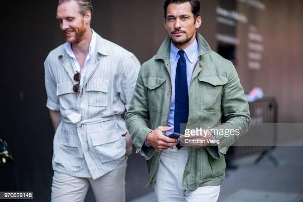 David Gandy wearing tie green jacket is seen during London Fashion Week Men's June 2018 on June 9 2018 in London England