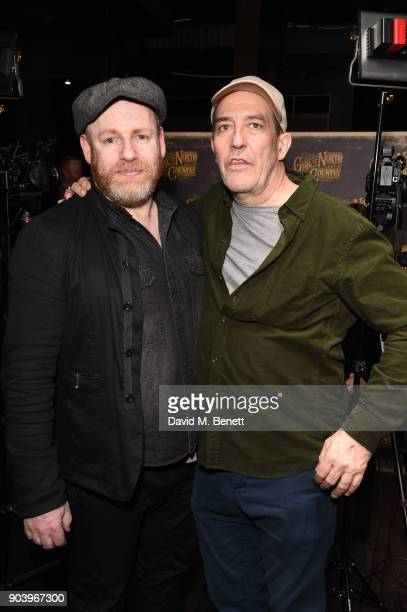 David Ganly and Ciaran Hinds attend the after party of Bob Dylan and Conor McPherson's 'Girl from the North Country' at Mint Leaf following a sell...