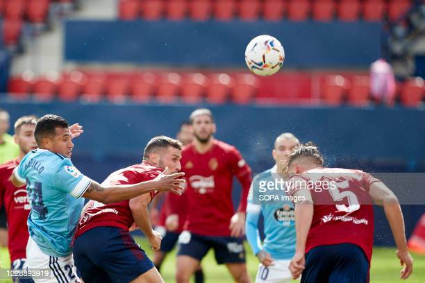 David García Oier Sanjurjo and Jeison Murillo in action during the Spanish La Liga Santander match between CA Osasuna and RC Celta at the Sadar...