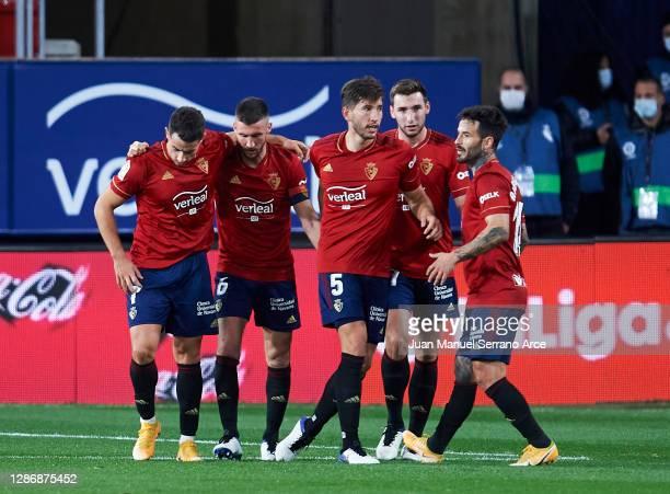 David Garcia of CA Osasuna celebrates after scoring goal during the La Liga Santander match between C.A. Osasuna and SD Huesca at Estadio El Sadar on...