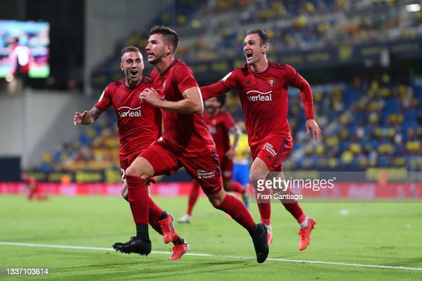 David Garcia of CA Osasuna celebrates after scoring their sides third goal during the La Liga Santander match between Cadiz CF and CA Osasuna at...