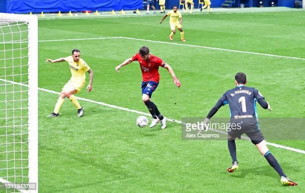 David Garcia of CA Osasuna scores an own goal to score Villarreal CF's first goal during the La Liga Santander match between Villarreal CF and C.A....