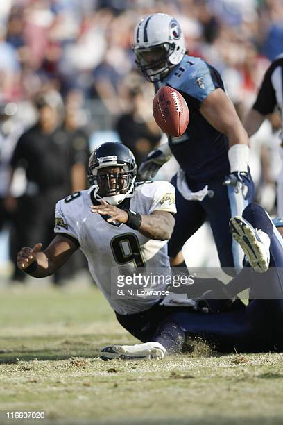 David Garrard of Jacksonville fumbles the ball during 2ndhalf action between the Jacksonville Jaguars and Tennessee Titans at LP Field in Nashville...