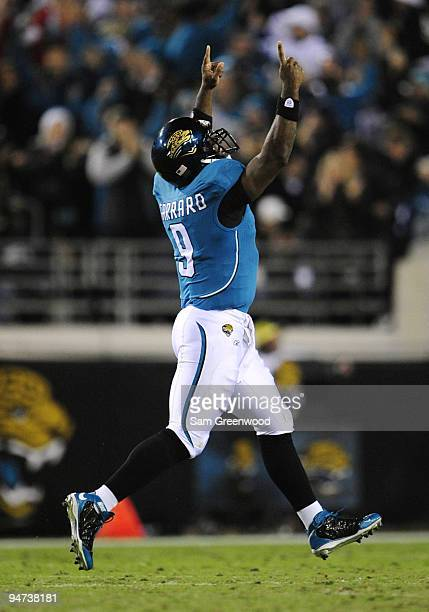 David Garrard of the Jacksonville Jaguars celebrates a Jaguars touchdown against the Indianapolis Colts at Jacksonville Municipal Stadium on December...