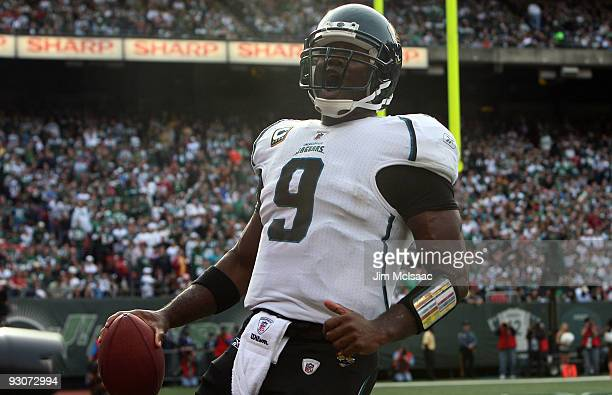 David Garrard of the Jacksonville Jaguars celebrates his first half touchdown against the New York Jets on November 15 2009 at Giants Stadium in East...