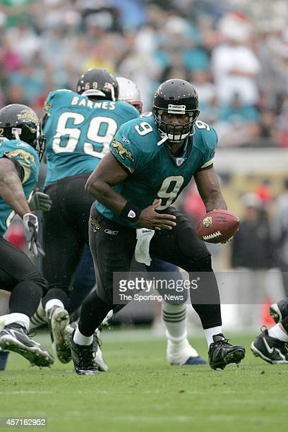 David Garrard of the Jacksonville Jaguars in action during a game against the New England Patriots on December 24 2006 at Alltel Stadium in...