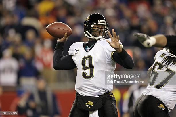 David Garrard of the Jacksonville Jaguars pass against the New England Patriots against during the AFC Divisional Playoff game played on January 12...