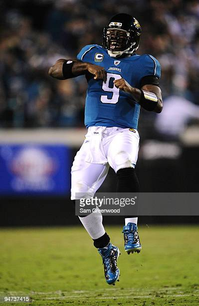 David Garrard of the Jacksonville Jaguars reacts against the Indianapolis Colts at Jacksonville Municipal Stadium on December 17 2009 in Jacksonville...